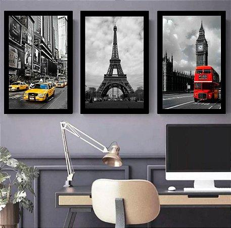 Quadro Decorativo New York Paris Londres C/ Moldura Preta