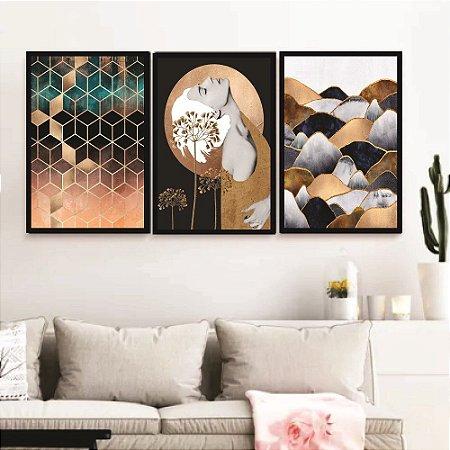 Kit 3 Quadros Decorativos Abstrato Mulher Sala Quarto