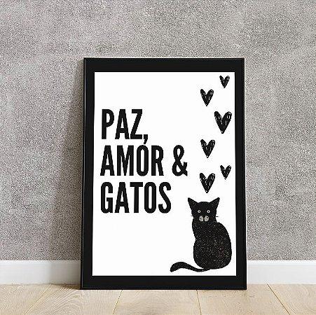Placa decorativa Paz, Amor, & Gatos