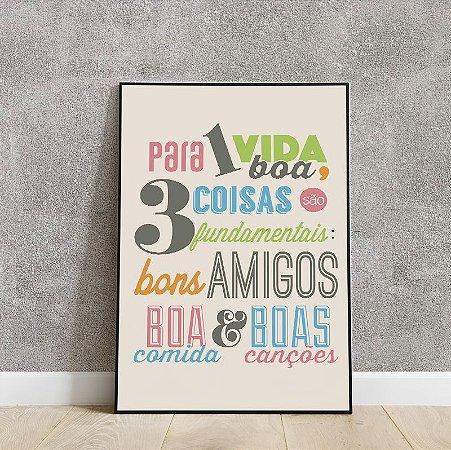 Placa decorativa para uma vida boa,3 coisas são fundamentais