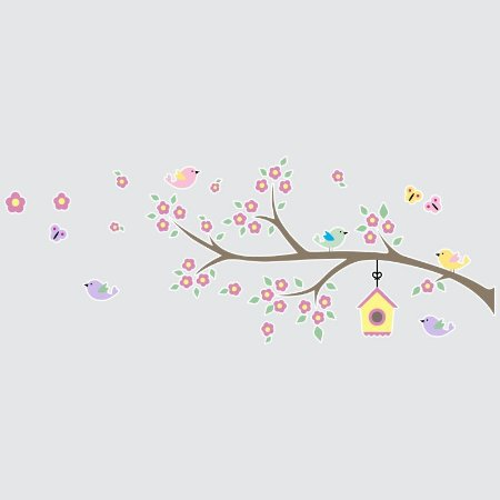 Adesivo Árvore e Pássaros