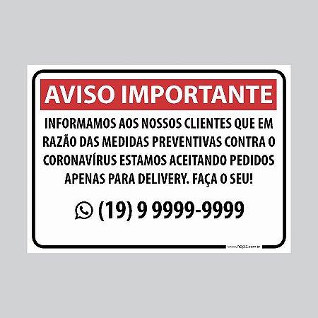 Placa de aviso Delivery Corona Vírus