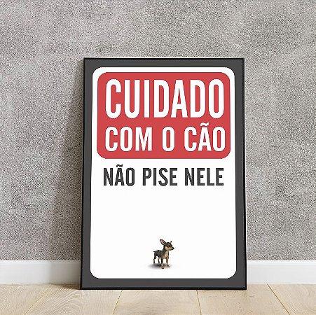 placa decorativa cuidado com o cão não pise nele