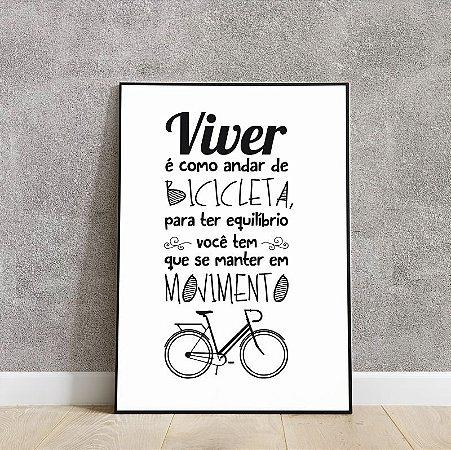 placa decorativa viver é como andar de bicicleta