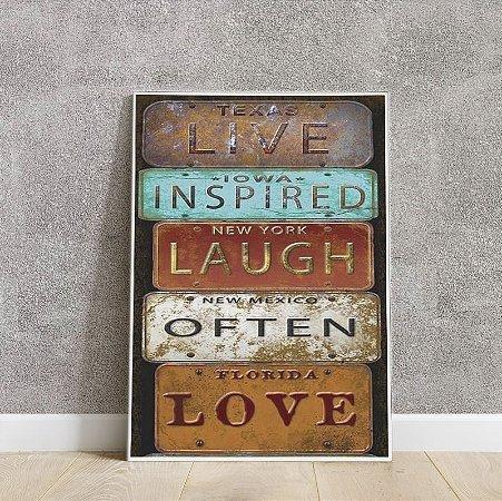 placa decorativa LIVE INSPIRED LAUGH OFTEN LOVE