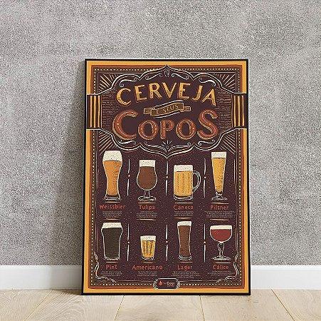 placa decorativa da cerveja e seus copos