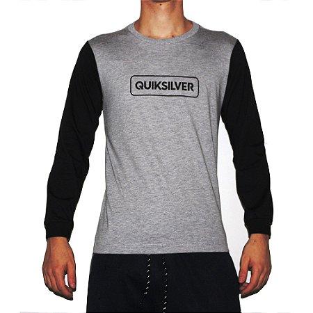 Camiseta Quiksilver Baseta Set Cinza Manga Longa Juvenil