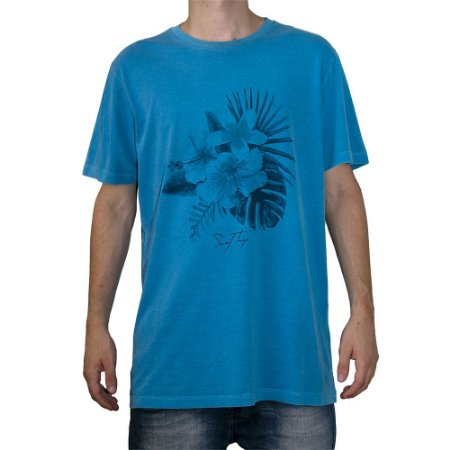 Camiseta Surf Trip Flor Azul