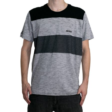Camiseta Okdok Wide Stripe Cinza
