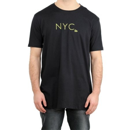 Camiseta New Era Básica Branded New York City Fluor Simple Preto/ Amarelo