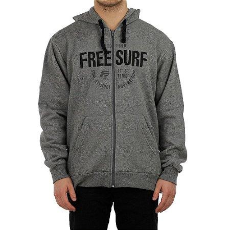 Moletom Freesurf Canguru Aberto Freedom Mescla Escuro/ Preto