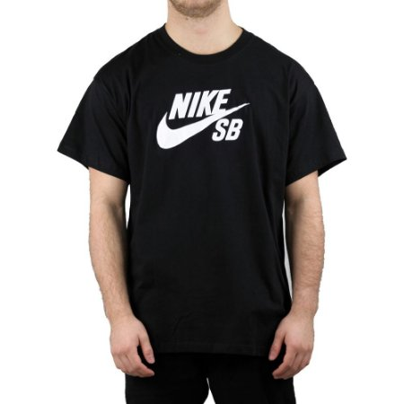 Camiseta Nike SB Básica Logo Skate Black/ White