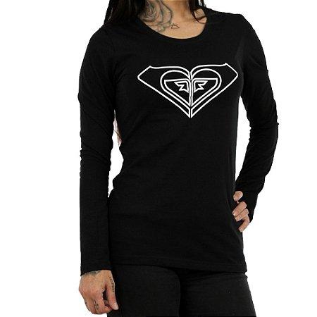 Camiseta Roxy Manga Longa With You Could Preto