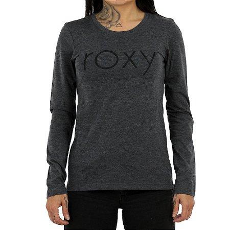 Camiseta Roxy Manga Longa With You Could Cinza Mescla