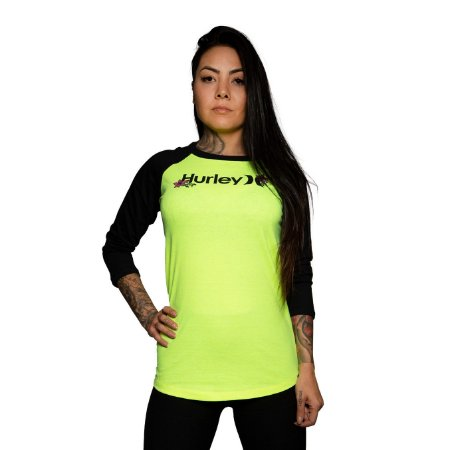 Camiseta Hurley One and Only Manga 3/4 Amarelo Neon