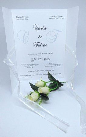Convite de Casamento com laço embutido (30 und.)