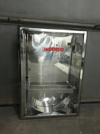 Caixa para Mangueira Aço Inox - 1 Porta de Vidro Incolor 8mm - (A)90 x (L)60 x (P)20cm - Sobrepor