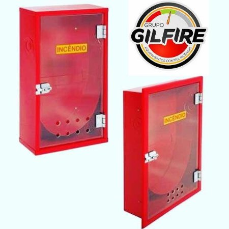 Caixa  para abrigo de Mangueira (Hidrante) em Chapa de Aço Embutir com Porta em Vidro 90x60x17 cm