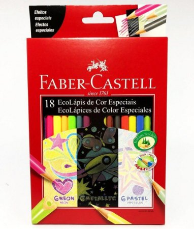 Lápis De Cor Faber Castell 18 Cores Neon-Pastel-Metalica