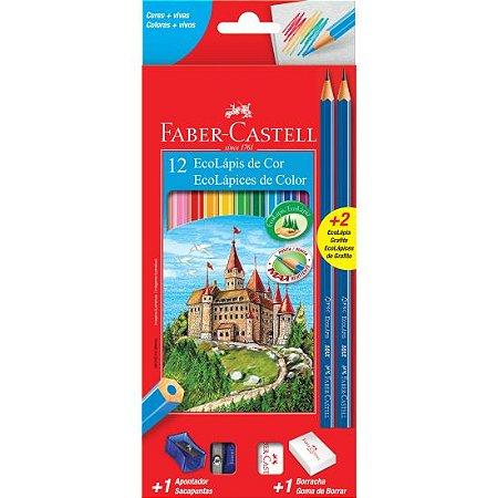 Lápis De Cor Sextavado Faber Castell 12 Cores + 02 Lápis Preto + Borracha e Apontador