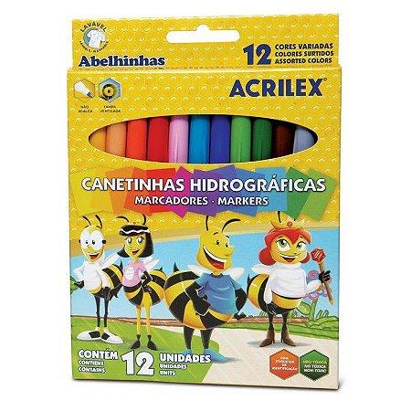 Caneta Hidrocor 12 cores - Acrilex.