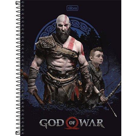 Caderno Espiral Capa Dura Universitário 12 Matéria God Of War 240 Folhas