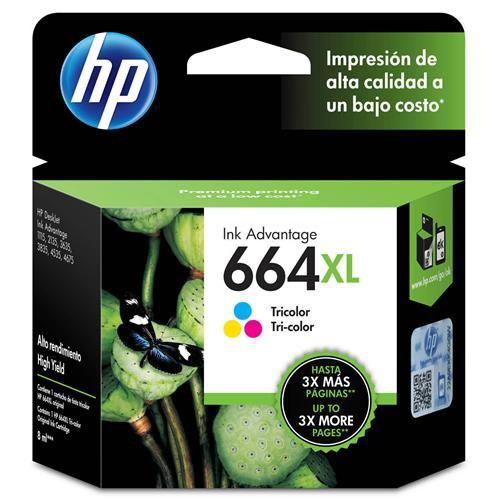 Cartucho de Tinta HP 664 XL Alto Rendimento Colorido