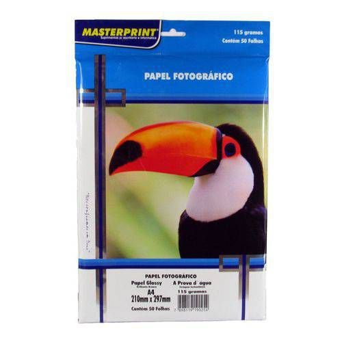 Papel Fotográfico Glossy Masterprint A4 115g 50 Folhas