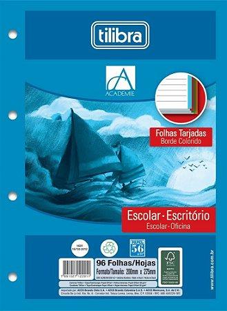 FOLHA PARA FICHÁRIO UNIVERSITÁRIO 96 FOLHAS 4 FUROS TARJADO COLORIDO TILIBRA