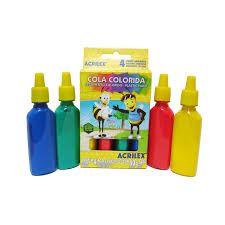 Cola colorida Acrilex caixa com 4 unidades 23 g cada