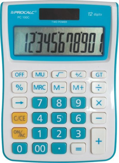 Procalc - Calculadora De Mesa 12 Dígitos - Pc100-C Azul