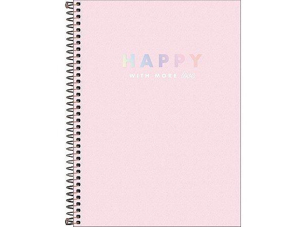 Caderno Universitário Happy 10 Matérias Tilibra Rosa