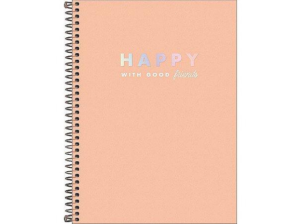 Caderno Universitário Happy 10 Matérias Tilibra Laranja Pastel