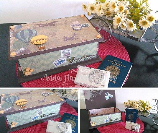 Caixa Decorativa Vintage Retangular Viagem
