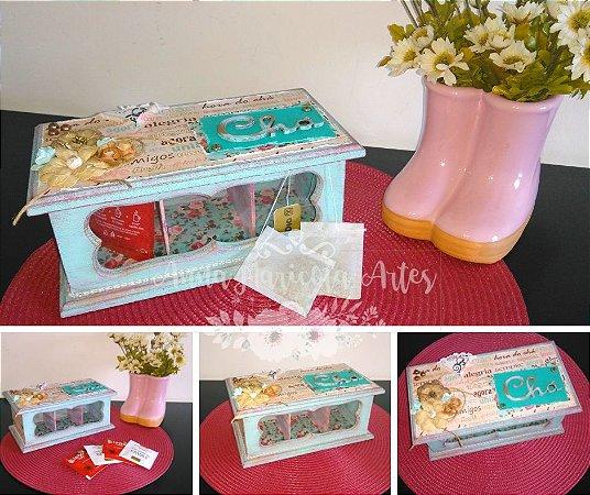 Caixa de Chá Vintage - 3 divisórias
