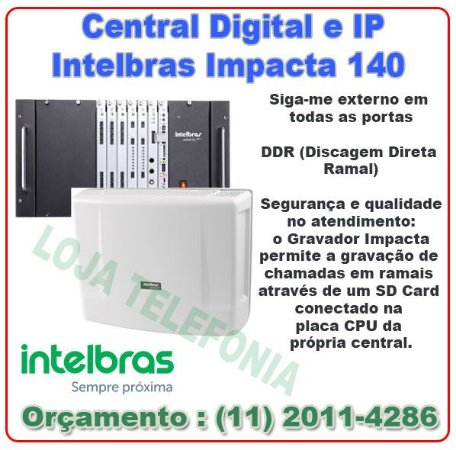 PABX Impacta 140 Central PABX Hibrido Intelbras