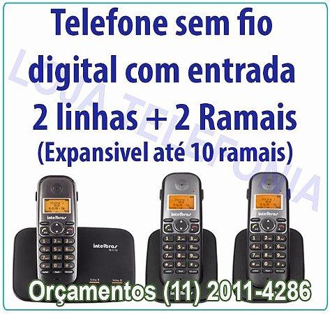 Telefone sem fio digital TS 5150 com entrada para 2 linhas + 2 Ramais