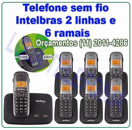 Telefone sem fio digital  com entrada para 2 linhas + 6 Ramais