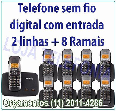 Telefone sem fio digital TS 5150 com entrada para 2 linhas + 8 Ramais