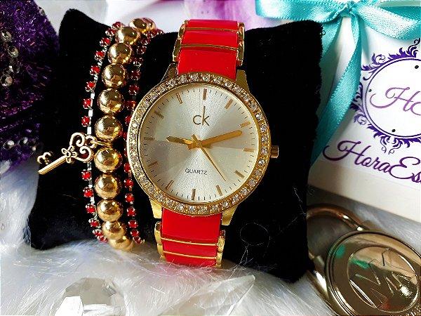 4caecc5dcca Kit Relógio Réplica Calvin klein vermelho com dourado - HoraEstilo ...