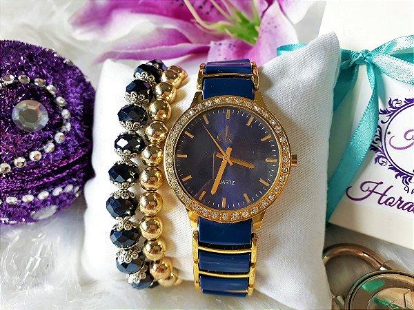 f3c3229357c Kit Relógio Réplica Calvin klein Azul e Dourado - HoraEstilo ...