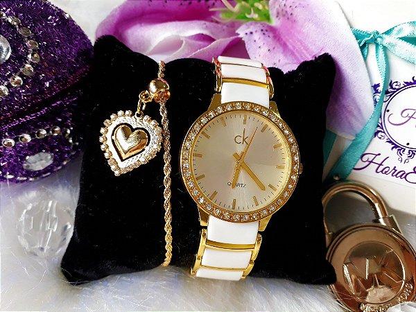 74325ae6b20 Kit Relógio Réplica Calvin klein branco e Dourado - HoraEstilo ...