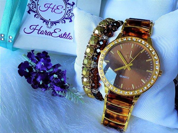 03d4c0c24fe Kit Relógio Réplica Calvin klein Marrom e Dourado - HoraEstilo ...