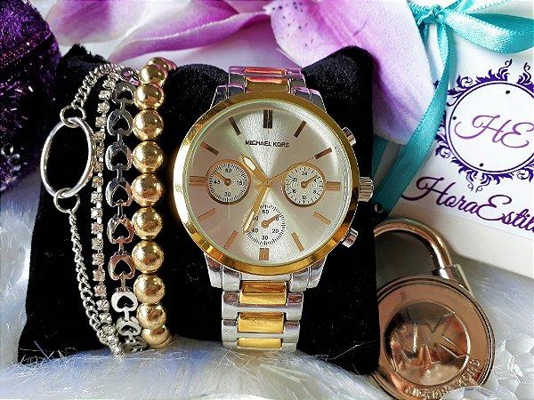 6ce7b1a243297 Kit Relógio Réplica Michael Kors Prata e Dourado - HoraEstilo ...