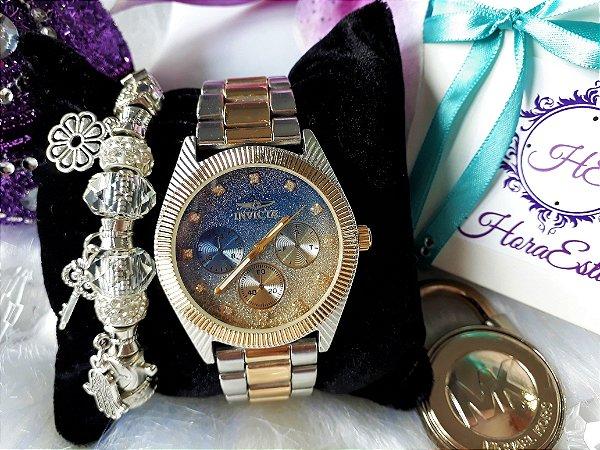 6609afb4af4 Kit Relógio Réplica Invicta Prata Dourado Azul . - HoraEstilo ...