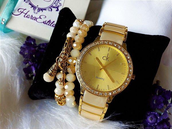 1c1b6dc3215 Kit Relógio Réplica Calvin klein Bege com dourado (Réplica ...
