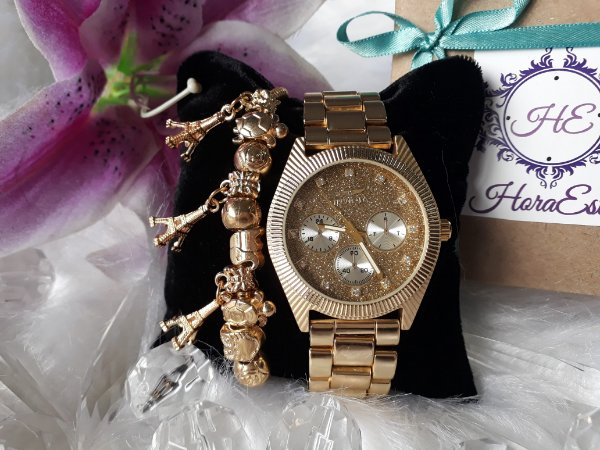 f0c89f1d92a Kit Relógio Réplica Invicta Dourado - HoraEstilo - Réplicas de ...