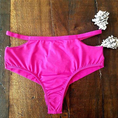 Calcinha de Biquíni Hot Pant Cintura Alta Fio Duplo com Recorte ROSA
