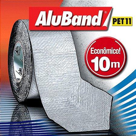 Manta Impermeabilizante Asfáltica Autoadesiva Multiuso de Alumínio com Poliéster - AluBand PET11 Alumínio - Rolos 10m