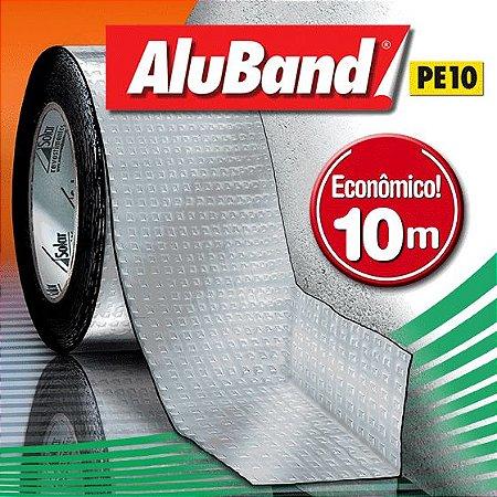 Manta Impermeabilizante Asfáltica Autoadesiva Multiuso de Alumínio com Polietileno - AluBand PE10 Alumínio - Rolos 10m